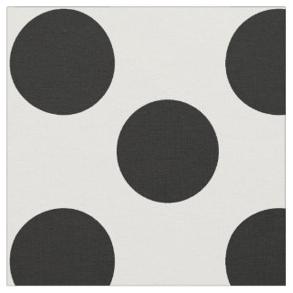 White Fabric with Large Black Polka Dots