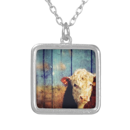 white face cow silver plated necklace