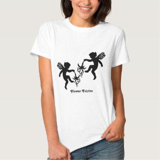 White Fairy Flower - Ladies Baby Doll T-Shirt