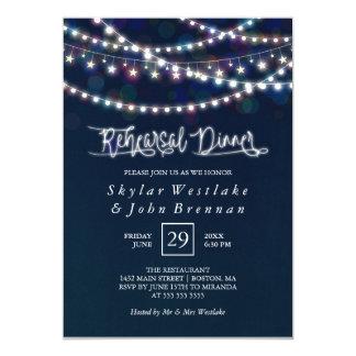 White Fairy Lights Blue Rehearsal Dinner Card