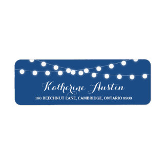 White Fairy Lights | Blue Return Address Label