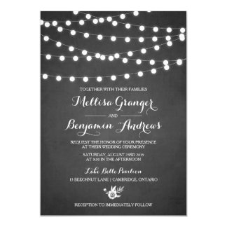 White Fairy Lights Chalkboard Wedding Invitation