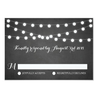 White Fairy Lights Chalkboard Wedding RSVP Card 9 Cm X 13 Cm Invitation Card