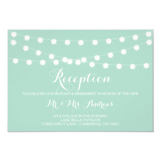 White Fairy Lights | Mint Wedding Reception Card