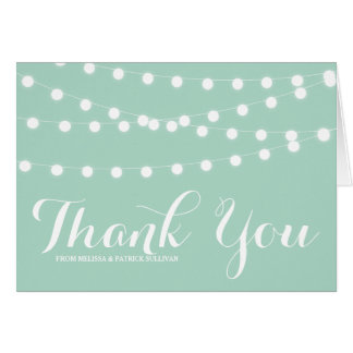 White Fairy Lights | Mint Wedding Thank You Card