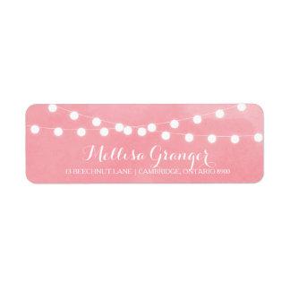 White Fairy Lights Pink Return Address Label