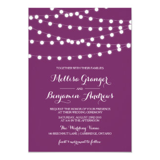 White Fairy Lights | Purple Wedding Invitation