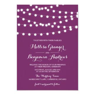 "White Fairy Lights | Purple Wedding Invitation 5"" X 7"" Invitation Card"