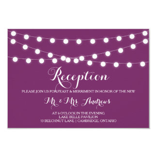 White Fairy Lights | Purple Wedding Reception Card