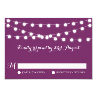 White Fairy Lights   Purple Wedding RSVP Card 9 Cm X 13 Cm Invitation Card