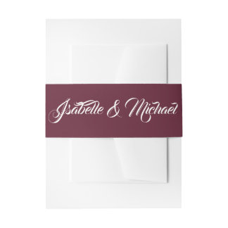 White Fancy Text on Burgundy Red Invitation Belly Band