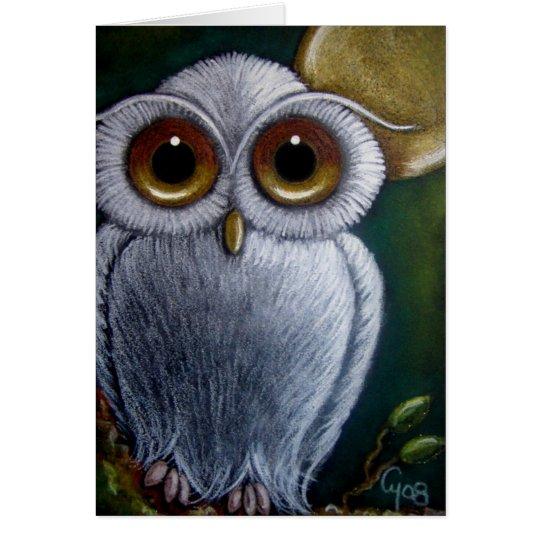 WHITE FANTASY BABY OWL Card