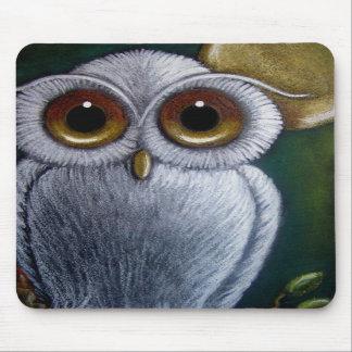 WHITE FANTASY OWL Mousepad