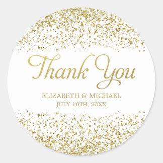 White Faux Gold Glitter Wedding Favor Thank You Round Sticker