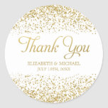 White Faux Gold Glitter Wedding Favour Thank You Round Sticker