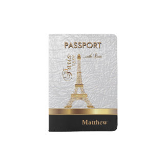 White Faux Leather with Gold Paris Accent Passport Holder