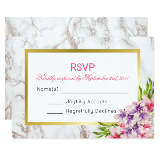 White Faux Marble Texture with Magnolias RSVP Card