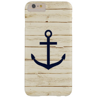 White Faux Wood Blue Anchor Barely There iPhone 6 Plus Case