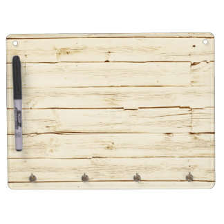 White Faux Wood Dry Erase Board With Key Ring Holder