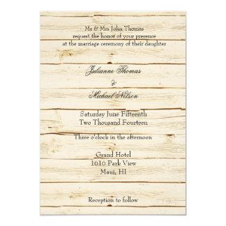 "White Faux Wood Wedding 5"" X 7"" Invitation Card"