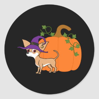 White & Fawn Chihuahua with Halloween Pumpkin Round Sticker