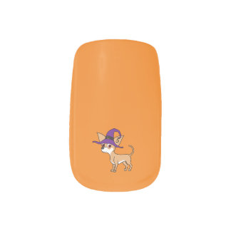 White & Fawn Chihuahua with Witch Hat Minx Nail Art