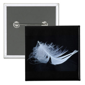 White feather - angelic by nature 15 cm square badge