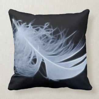 White feather - angelic by nature throw pillows
