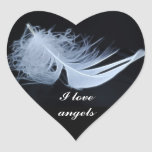 White feather - angelic by nature heart sticker