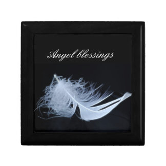 White feather - angelic by nature small square gift box