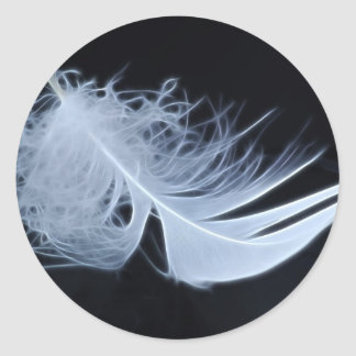 White feather - angelic by nature round sticker