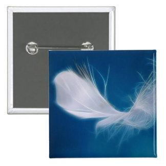 White feather art - symbol of purity and innocence 15 cm square badge