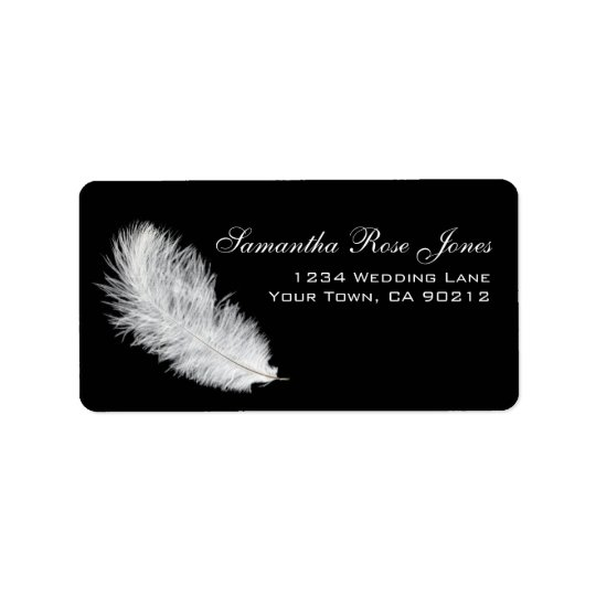 White Feather Black Custom Address Label