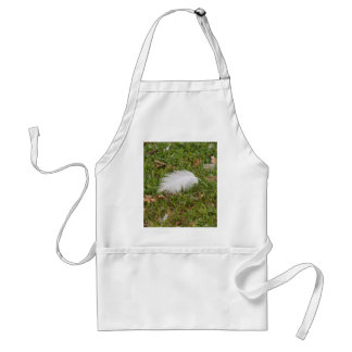 white feather on meadow standard apron