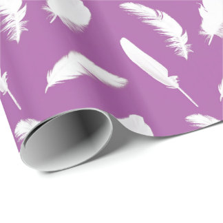 White feather print on amethyst purple wrapping paper