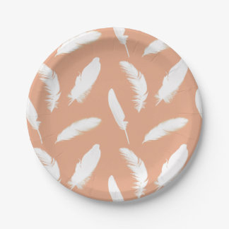 White feather print on soft peach 7 inch paper plate