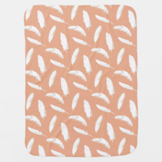 White feather print on soft peach baby blankets