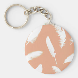 White feather print on soft peach basic round button key ring