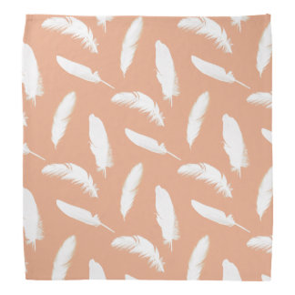 White feather print on soft peach do-rags