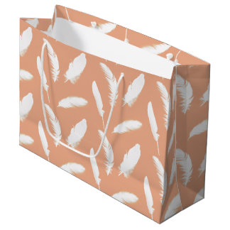 White feather print on soft peach large gift bag