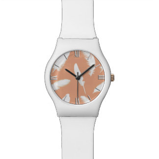 White feather print on soft peach wristwatch