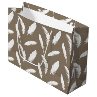 White feather print on taupe tan large gift bag