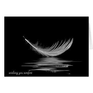 white feather reflection for sympathy card