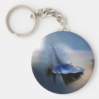 White feather sailing basic round button key ring