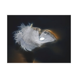 White feather with a raindrop canvas print