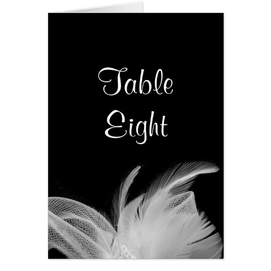 White Feathers Table Number Card (black)