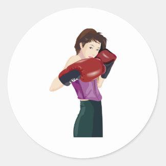 White Fem Boxer Stickers
