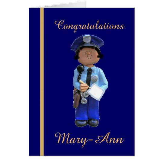 White Female Police Academy Graduation Card