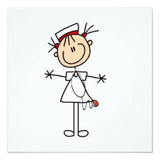 White Female Stick Figure Nurse 2 13 Cm X 13 Cm Square Invitation Card