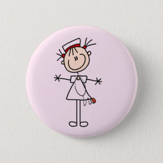 White Female Stick Figure Nurse 2 Gifts 6 Cm Round Badge